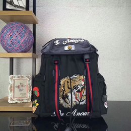 Wholesale Nylon Designer Bags - 2017 Tiger Embroidery Techpack with embroidery luxury designer travel bag man backpack shoulder bags book bag 429037