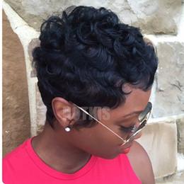 Perruques afro-américaines ondulées en Ligne-HOTKIS 100% Cheveux Humains Légères Perruques Ondulées Sans Colle Court Ondulés Perruques pour Femmes Africain Amerimen Afrin Américain W pour Femmes Afro-Américain Perruques