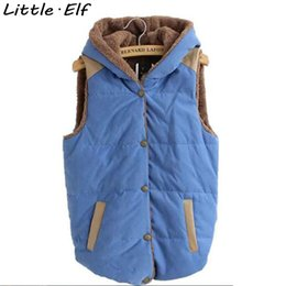 Wholesale Hooded Vest Large - Wholesale-Vest Women Autumn Winter Waistcoat Hooded Collar Thick Warm Cotton Vest Female Large Size Jacket&Outerwear SY676SY