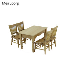 Wholesale Wood High Table - Wholesale- Dolls house 1 12 Scale Miniature furniture High quality table and 4 chairs Set
