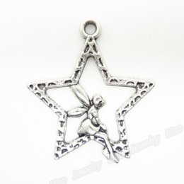 Wholesale Fit Jewelry Design - Wholesale-Latest Design!!!120pcs lot Alloy Fairy&Star Antique Silver Plated Charms Pendant Fit Jewelry Making 28x25x2mm