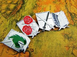 Wholesale Anime Pin Sets - 2015 New Pins Brooches 4pcs Badge Set Shingeki no Kyojin Pins Attack On Titan Anime Cosplay Button Free Shipping