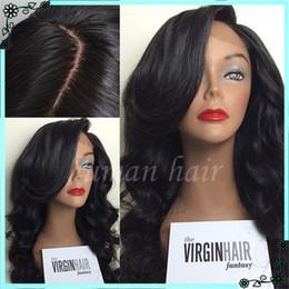 Wholesale Long Wavy Half Wigs - Full Lace Human Hair Wigs Wavy 7A Brazilian Glueless Full Lace Wigs 150% Density Wavy Human Hair Lace Front Wigs Black Women