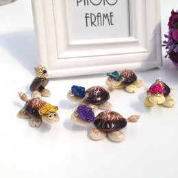 Wholesale Turtle Ornaments - 6PCS 5 turtle+1 mouse 4-6CM Handmade Household products home Decorative Aquarium decor Cute hat turtle DIY Natural Conch wedding gift