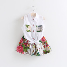 Wholesale Baby Clothing White Skirt - 2014 New baby girls clothing kids clothing sets children sets summer baby girls outfits Sleeveless T-shirts+flowers skirts kids clothes