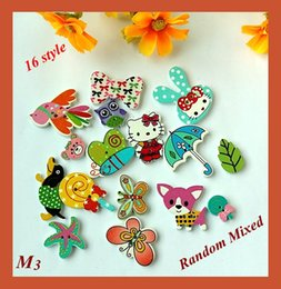Wholesale Wholesale Wood Craft Products - 150pcs Fashion New Wood Buttons For crafts and scrapbooking products accessories 2 Holes Pattern Print botao para artesanato M-3