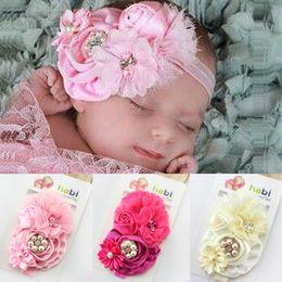 Wholesale Pink Chiffon Hair Bow - New Baby girls headbands bows Big Flowers Satin Chiffon Hair accessories for girls babies Elastic Headbands mix Hair Accessories Pink beige