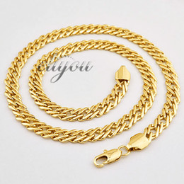 Wholesale Indian Jewellery Free Shipping - New Fashion Jewelry Mens Womens 7mm 18K Yellow Gold Filled Necklace Curb Cuban Link Chain Gold Jewellery Free Shipping C03 YN