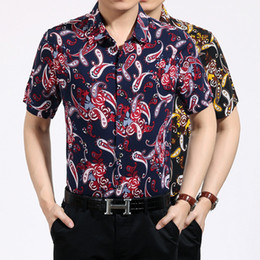 Wholesale Wholesale Hawaiian Shirts - cotton hawaiian shirt for men short sleeve Paisley Print bandana shirt Graphic Streetwear men floral shirt