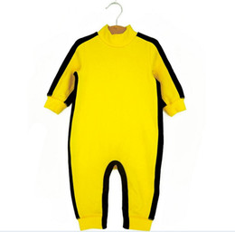 Wholesale Toddlers Boys Sports Clothes - Funny Dragon Baby Toddler Infants Bodysuits Bruce Lee Kongfu Rompers Boys One-Piece Long Sleeve Sport Climbing Clothing Yellow K4316