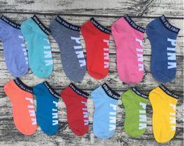Wholesale Sexy Girl Underwear Cotton - Wholesale Pink Letter Socks Anklet Sports Hosiery Cotton Fashion Short Socks Slipper Girl Sexy Love Pink Ship party Socks Summer Underwear