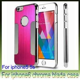 Wholesale Case Chrome Metal Iphone - Luxury Brushed Metal Steel Aluminum Chrome Cases For iPhone6 4.7 5.5 inch iPhone 6 plus 5s Phone Hard Back Cover Case