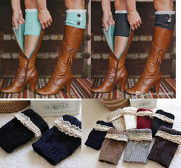 Wholesale Socks Buttons - Fashion Women Girl Leg Warmers Hosiery Stockings Crochet Knit button white Lace trim Boots socks Cuff Leggings Tight 9colors gift