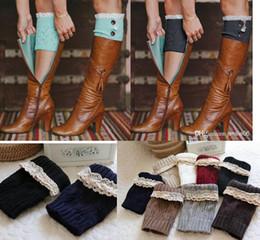 Wholesale Wholesale White Lace Socks - Fashion Women Girl Leg Warmers Hosiery Stockings Crochet Knit button white Lace trim Boots socks Cuff Leggings Tight 9colors gift