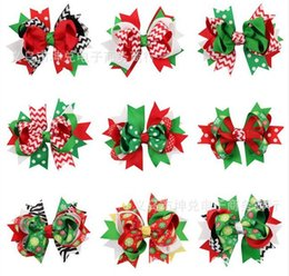 Wholesale Barrette Flowers - Hot christmas hair bows clips accessories for children girls fashion kids babys cute flower Bowknot Hairpin hairclip hairbow for xmas party