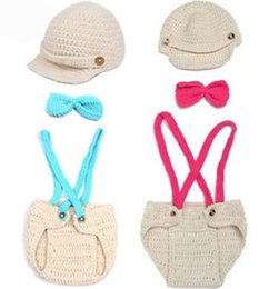 Wholesale Baby Knit Hat Blue - Baby Boy Girl Infant Crochet Knitted Hat and Pants newborn Children Kids Photographer Prop Clothing