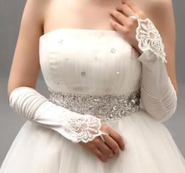 Wholesale fingerless crochet gloves - 1.99$ In Stock 2015 White Ivory Red Beaded Applique Lace Fingerless Wedding Bridal Gloves Prom Evening Cocktail Gloves for Bride