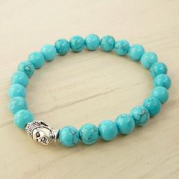 Wholesale Turquoise Bead Buddha Bracelet - SN0254 Newest Design Turquoise Howlite Bracelet Bead Bracelet Mens buddha Bracelet Trendy Gifts for Him Free shipping