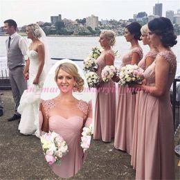 Wholesale Designer White Ivory Chiffon Beach - Pink Beach Plus Size Bridesmaids Dresses 2015 A Line Scoop Simple Cheap Designer Beaded Long Chiffon Blush Bridesmaids Dresses For Juniors