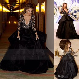 Wholesale Long Sleeve Black Lace Gown - Vestidos 2015 Black Lace Evening Dresses with Sheer Deep V Neck Long Sleeves Backless Red Carpet Formal Party Ball Gowns