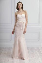 Wholesale Photos Cheongsam - 2015 Top Sale cheongsam Blush Mermaid Maid Of Honor Dresses Tulle Sweetheart Bow Sash Full Length Ruched Wedding Bridal Dresses