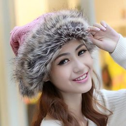 Wholesale Korean Fashion Hats - 2016 New Winter thick warm winter hat Ms. lovely knitted hat Korean fashion imitation rabbit hat