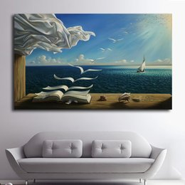 Wholesale Printed Picture Book - 1 Pcs The Waves Book Sailboat Art Prints Poster Wall Pictures Canvas Painting For Living Room Decor No Framed