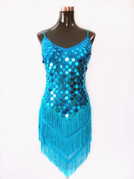 Wholesale Tassel Dance - Lady Summer Sexy Latin Dance Dress Allover Sequin Fringe Slip Mini Dress For Dance Performance 988