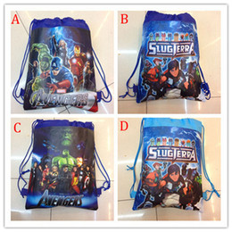 Wholesale One Shoulder Woven Bag - Children the avengers backpacks 2015 NEW Avengers: Age of Ultron boy non-woven drawstring bags boy school bags 4 style B001