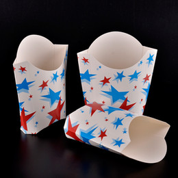 Wholesale Foldable Cup Holder - Color Stars Paper French Fries Cup Disposable Fried Chicken Popcorn Snacks Cup Holder Foldable Dessert Package SK727