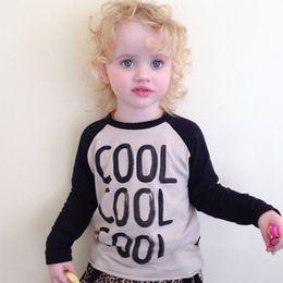 "Wholesale Wholesale Boy Western Shirts - 2016 new western style baby boy T-shirt kids girl INS popular O-neck long sleeve cotton ""cool "" shirt spring autumn 5pcs lot"