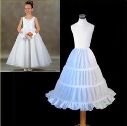 Wholesale Cheap Hoop Skirt Petticoat - 2016 Cheap White Girls Petticoats Skirts Underskirt Crinoline 3 Hoop Children For Flower Girls Party And Wedding Kids Ball Gowns