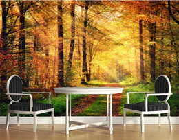 etiqueta de la pared paisaje Rebajas Moderno 3D Paisaje Natural Foto Mural de Pared Wallpaper HD Rollos de Papel de Pared Home Wall Art Sticker Decorativos Murales Tamaño Personalizado