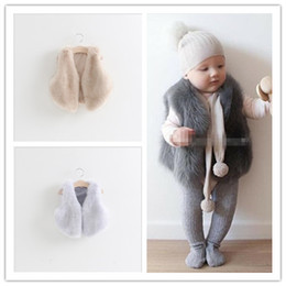 Wholesale winter feather jacket girls - Baby Girls Faux Fur Vest Fox Fur Waistcoat Jacket 2015 Autumn Winter Children Fashion Outwear Kids Clothing Babies Clothes Cute Girl Vests