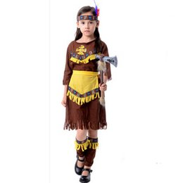 e9f147fb18 Native American Costume Wild West Child Boys Girls Indian Cowboy Masquerade  Halloween Cosplay
