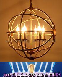 Wholesale Vintage Orb Lamp - TOP20 Dia 50cm 65cm RH Loft Lighting Circle Restoration Hardware Vintage Pendant Lamp FOUCAULT'S Iron Orb Chandelier Rustic Bar Lights