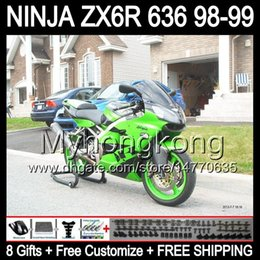 Luzes ninja zx6r on-line-8Gifts grátis personalizado para 98 99! KAWASAKI luz verde ZX 6R 636 ZX6R NINJA Y677 ZX-6R 1998 1999 98-99 ZX636 verde preto ZX-636 Carenagens