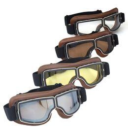 Capacete piloto de motocicleta on-line-NOVA Chegada DA SEGUNDA GUERRA MUNDIAL Vintage para Harley estilo óculos de proteção da motocicleta Piloto Moto óculos Antiqued Jet Helmet Eyewear 4 lente cor