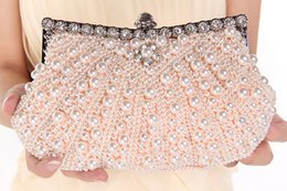 Wholesale Cheap Women Clutch Bags - 2015 Hot Cheap Crystal Pearl Fashion Accessories Bridal Bags with Chain Women Wedding Evening Prom Party Handbag Shoulder Bags Clutch Bags