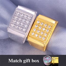 Wholesale Men Gold Square Ring - U7 Men Punk Square Band Gold Ring 18K Real Gold Platinum Plated Cubic Zircon Wedding Fashion Gold Jewelry Perfect Punk Accessories R353