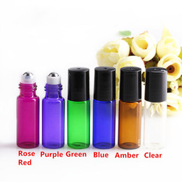 Wholesale Perfume Bottles Products - Hot Products Roller Ball Essential Oil Perfume Bottles 5ml Blue Amber Green Clear Purple Roll Glass Bottle with metal ball for cosmetics