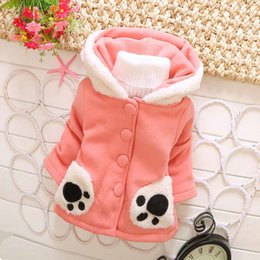 Wholesale Long Sleeves Panda Outwear - Wholesale-2015 Winter Baby Girls Long Sleeve Cute Panda Footprint Hooded Cap Sweatshirts Outwear Coat Jackets Cardigan S2214