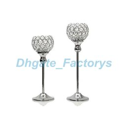 """Wholesale Tall Crystal Candle Holders - Glass Crystal Candle Holders 12"""" 30cm Tall Wedding Centerpiece Metal Silver Gold Candlestick Candle Stand JF-603"""