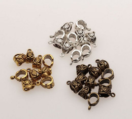 Wholesale Antique Bronze Connector Charms - MIC 100pcs Antique Silver   Bronze   Gold 6mm Hole Charm Bail Connector Bead Fit Bracelet 7.5x13.5mm