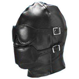 Wholesale Full Sex Mask - Removable Goggles Gag Hood Mask Restraints PVC Leather Sex Slave Fun Hoods Toy Full Head Harness