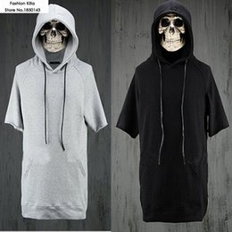 Wholesale Sweat Hba - Wholesale-hiphop fashion mens short sleeve hoodies kanye west sweat suit tee side zip hiphop hoodie black and gray S-XXXL hba skateboard