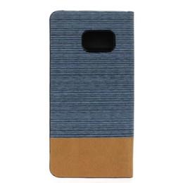 2019 carteras de madera Para Samsung Galaxy S7 G930 G9300 S7 Edge J510 J5 2016 Dual Color PU Flip Carteras de cuero de la caja de la lona Jeans Wood Card Stand Book Cover rebajas carteras de madera