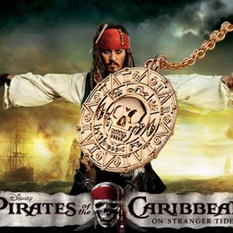 Wholesale Silver Jewelry Skulls - 2016 Movie Jewelry Pirates of the Caribbean Aztec Skull Pendant Exaggerated Vintage Necklace 2 colors 10pcs ZJ-0903114