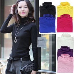 Wholesale Sweater Tops For Girls - New Fashion Girls Womens Turtleneck Long-Sleeve T shirt Solid Sweater Tops Pullover Just for you