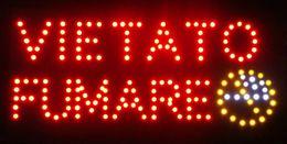 Plástico PVC quadro personalizado levou sinal de luz logotipo VIETATO FUMARE sinal slogans atraentes interior tamanho 19 * 10 polegadas de Fornecedores de logotipo personalizado luz led
